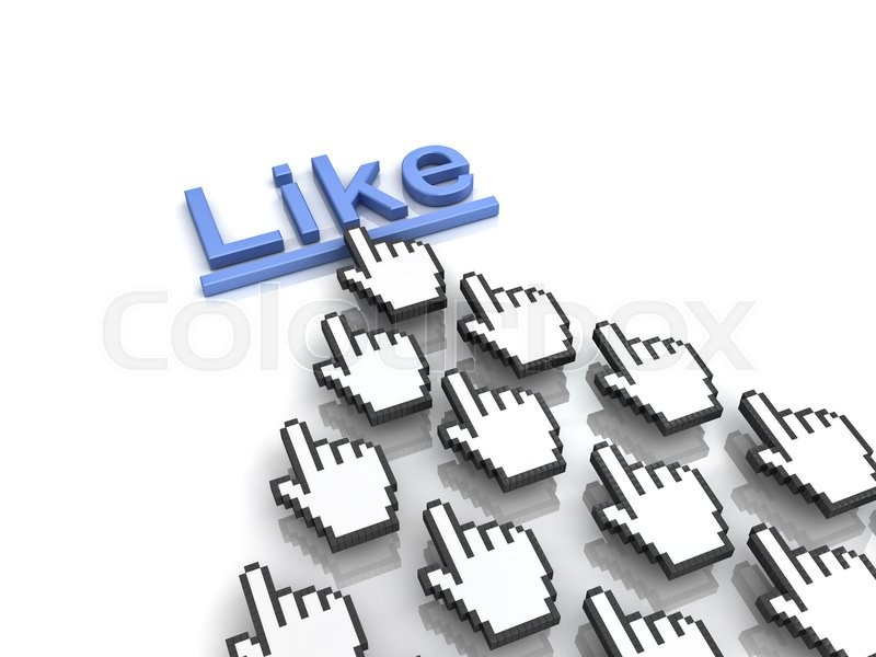 Stock image of 'Like concept many hand cursors mouse clicking like button or link on white background with reflection. 3D rendering.'