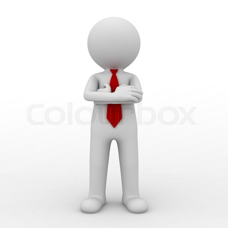 Stock image of '3d business man standing with arms crossed isolated over white background. 3D rendering.'
