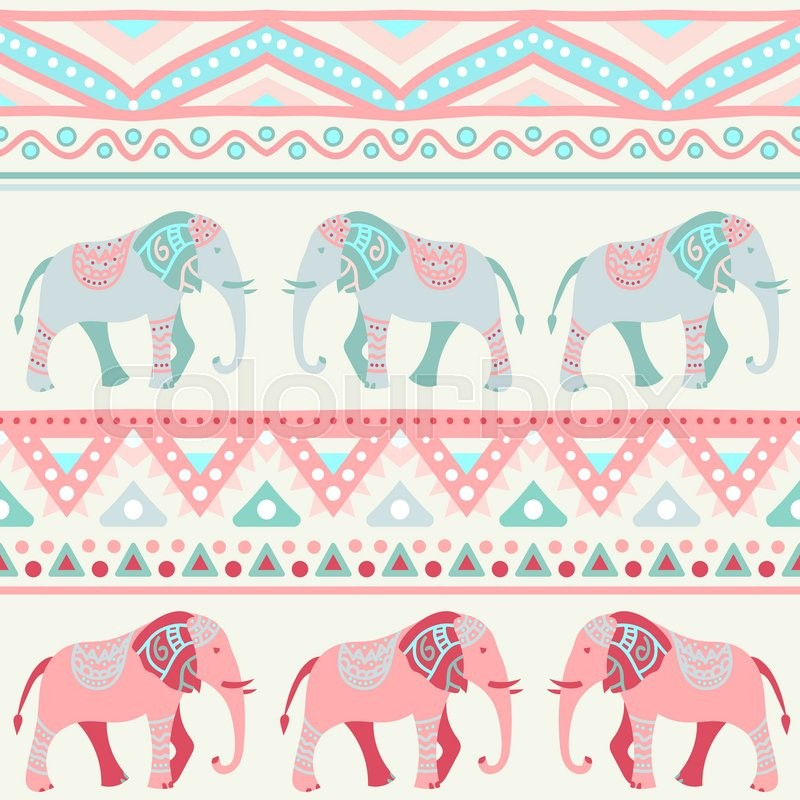 Stock image of 'Animal seamless retro pattern of elephant silhouettes. Endless texture can be used for printing onto fabric. With doodle stripes. White, blue, red and yellow colors.'