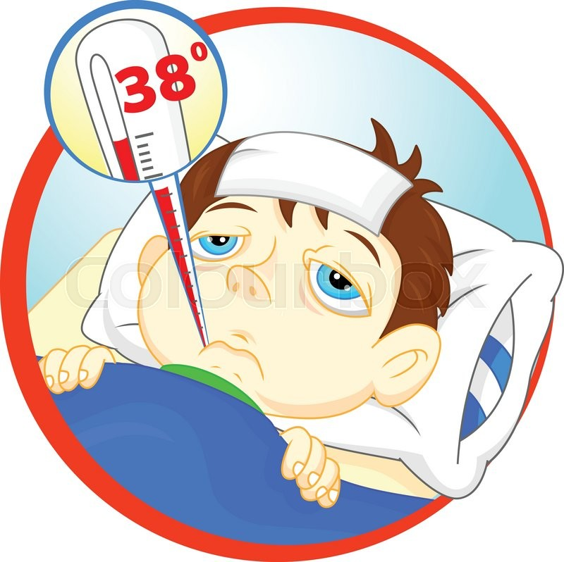 Vector Illustration Of Sick Boy In Bed With Symptoms Of