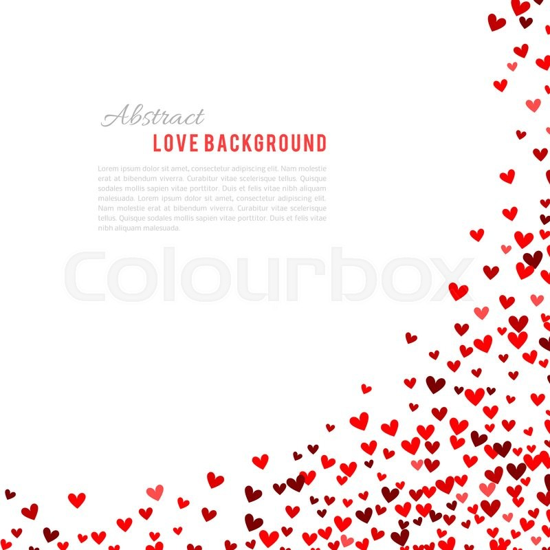 Stock image of 'Romantic red heart background. illustration for holiday design. Many flying hearts corner on white background. For wedding card, valentine day greetings, lovely frame.'