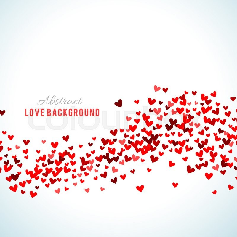 Stock image of 'Romantic red background. illustration for holiday design. Many flying hearts on white background. For wedding card, valentine day greetings, lovely frame.'