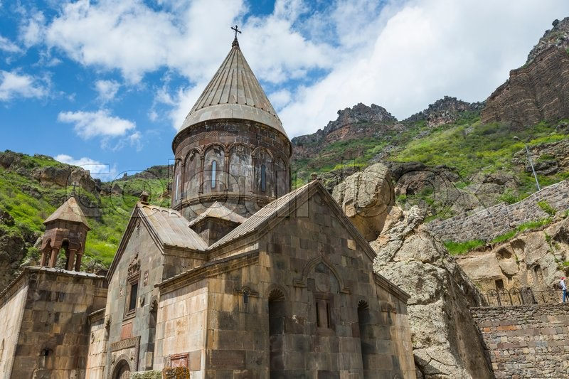 Editorial image of 'Monastery of Geghard, unique architectural construction in the Kotayk province of Armenia. UNESCO World Heritage'