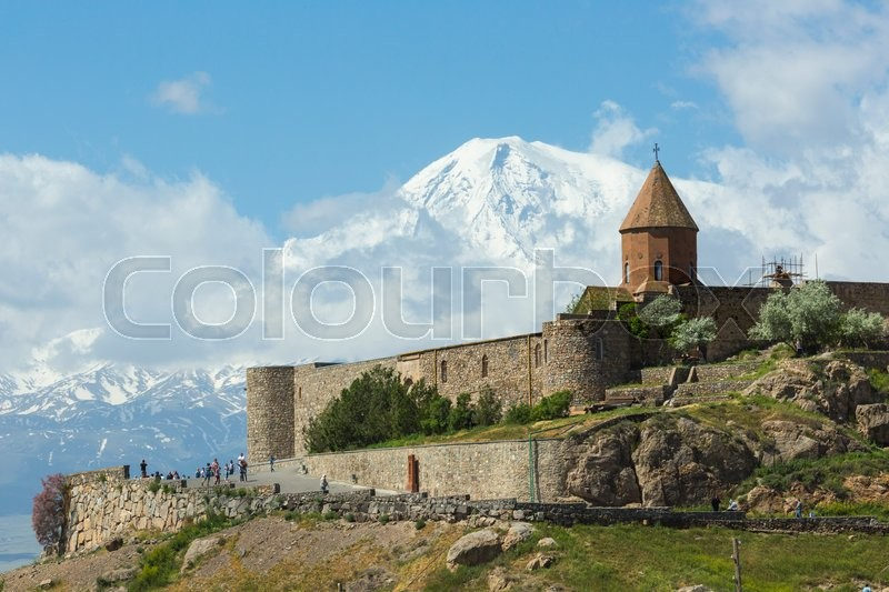 Editorial image of 'The Khor Virap is an Armenian monastery , located in the Ararat plain in Armenia, near the Turkey border .'