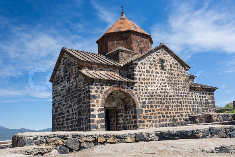 Editorial image of 'Medieval church on Sevan lake, Armenia'