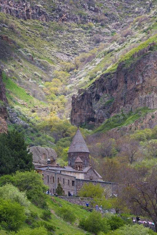Stock image of 'Monastery of Geghard, unique architectural construction in the Kotayk province of Armenia. UNESCO World Heritage'
