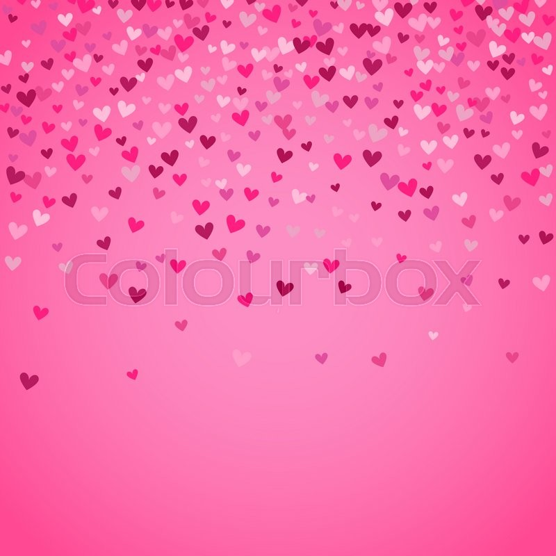 Stock image of 'Romantic pink heart background. illustration for holiday design. Many flying hearts on pink background. For wedding card, valentine day greetings, lovely frame.'