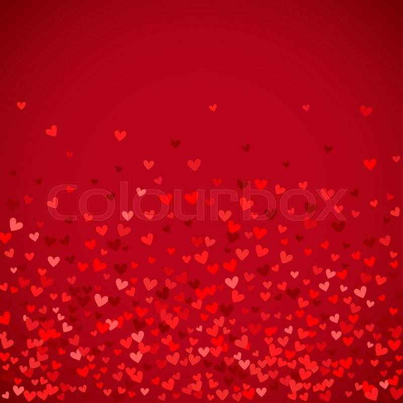 Stock image of 'Romantic red heart background. illustration for holiday design. Many flying hearts on red background. For wedding card, valentine day greetings, lovely frame.'