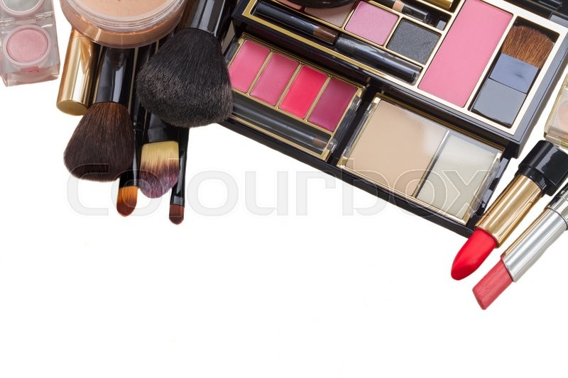 Stock image of 'make up products with lipsticks and  and brushes border isolated on white background'