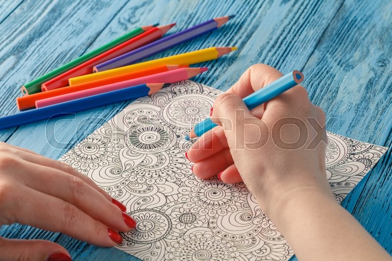 Adult Coloring Books Colored Pencils Anti Stress Tendency Hobbies Womans Hands Painting Relief Painter