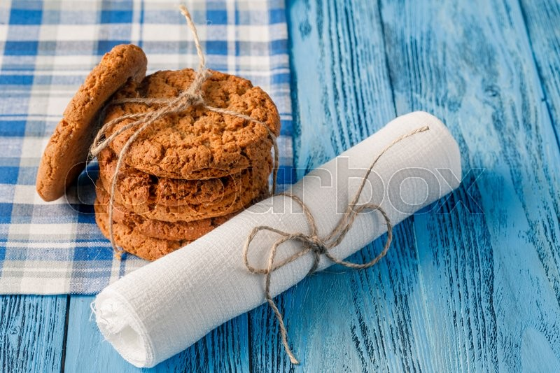 Stock image of 'healthy organic breakfast with oat cookies and milk'