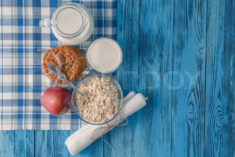 Stock image of 'Top view. Table with healthy organic products on wooden table'