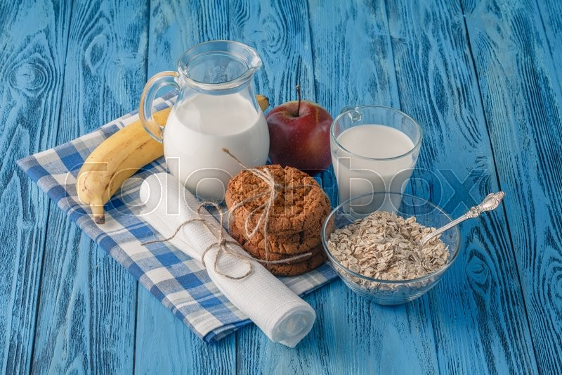 Stock image of 'Healthy dieta concept. Organic products with fructs and milk'