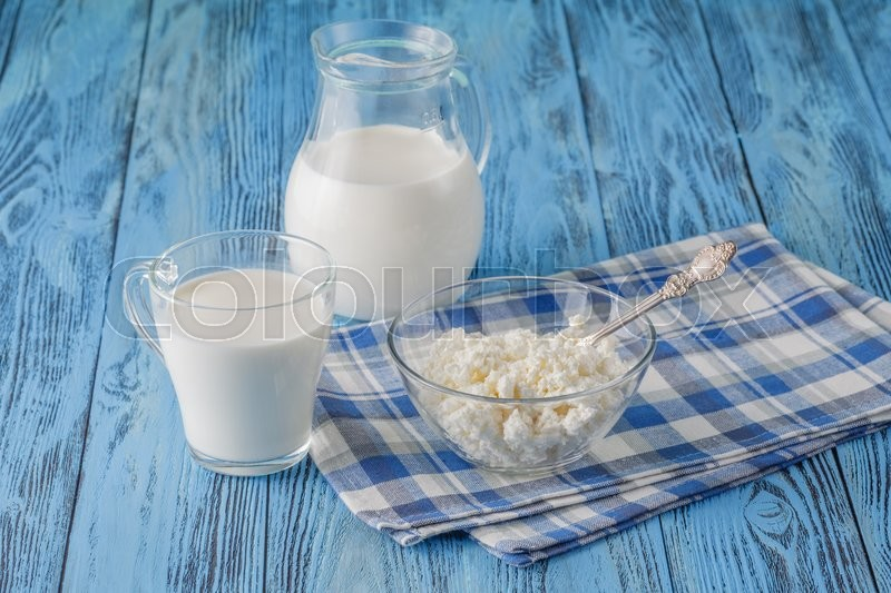 Stock image of 'healthy  organic breakfast. organic healthy food, cottage cheese on table'