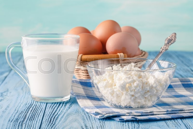 Stock image of 'Breakfast in village. Organic healthy food, cottage cheese'