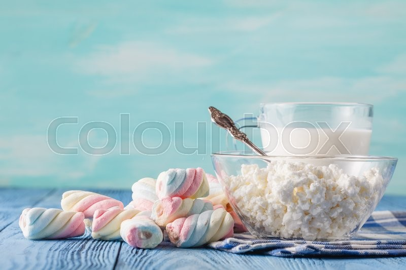 Stock image of 'organic healthy food with milk and twisted marshmallow'