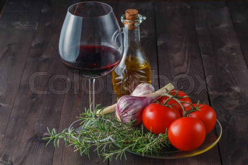 Stock image of 'Homemade cuisine. salad ingredients on table'