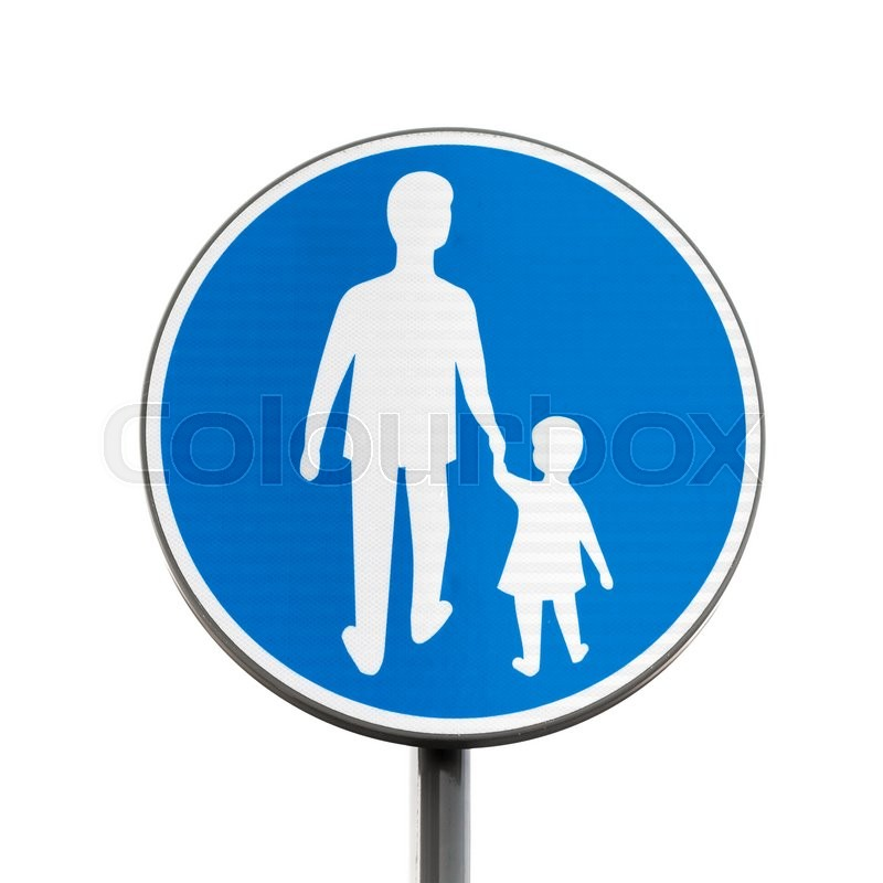 Stock image of 'Pedestrians Only. Blue round road sign on metal pole isolated on white background'
