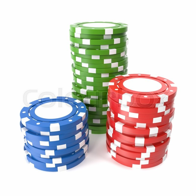 Stock image of 'Casino chips stack isolated on white background. 3d illustration'