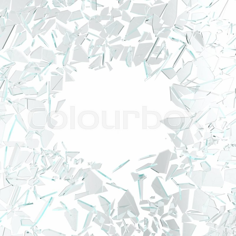 Stock image of 'Broken glass isolated on white background. 3d illustration'