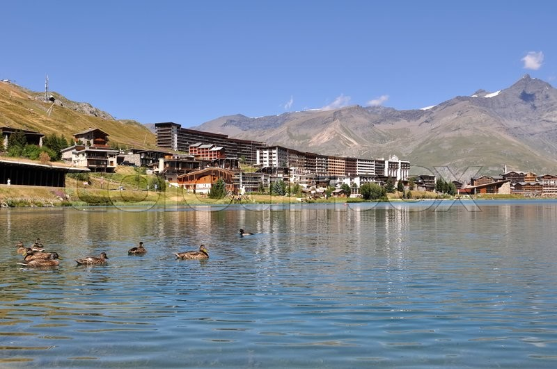 Stock image of 'lake  of Tignes in summer with ducks'