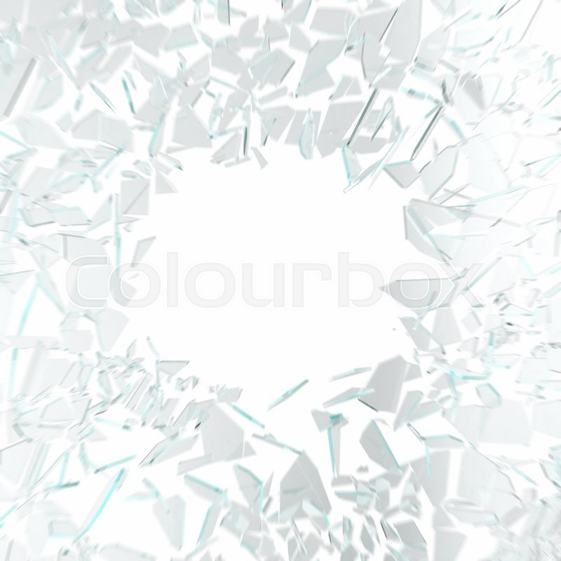 Stock image of 'Broken glass in motion isolated on white background. 3d illustration'