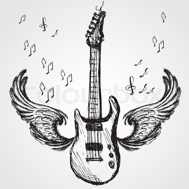 Music Background With Rock Guitar And Wings Vector
