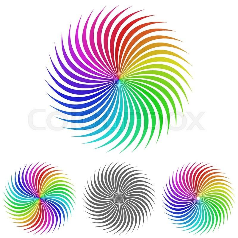 rainbow swirl logo vector swirl icon symbol design template set for