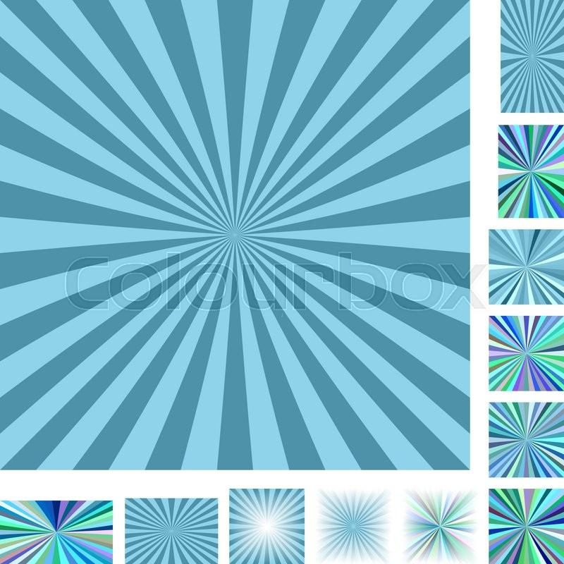 Retro light blue vector ray burst design background set. Different ...
