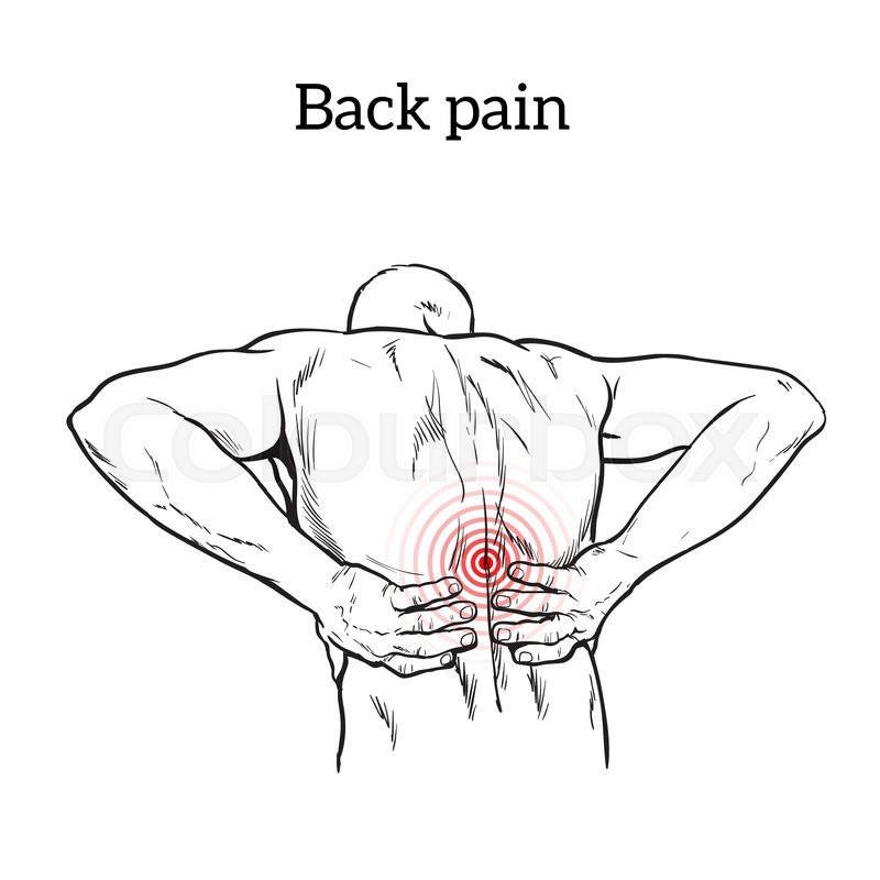 Lumbar Pain In A Man Back Pain In A Human Outline Sketch Black And