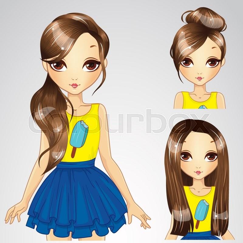 Vector Illustration Of Brunette Girl Stock Vector Colourbox