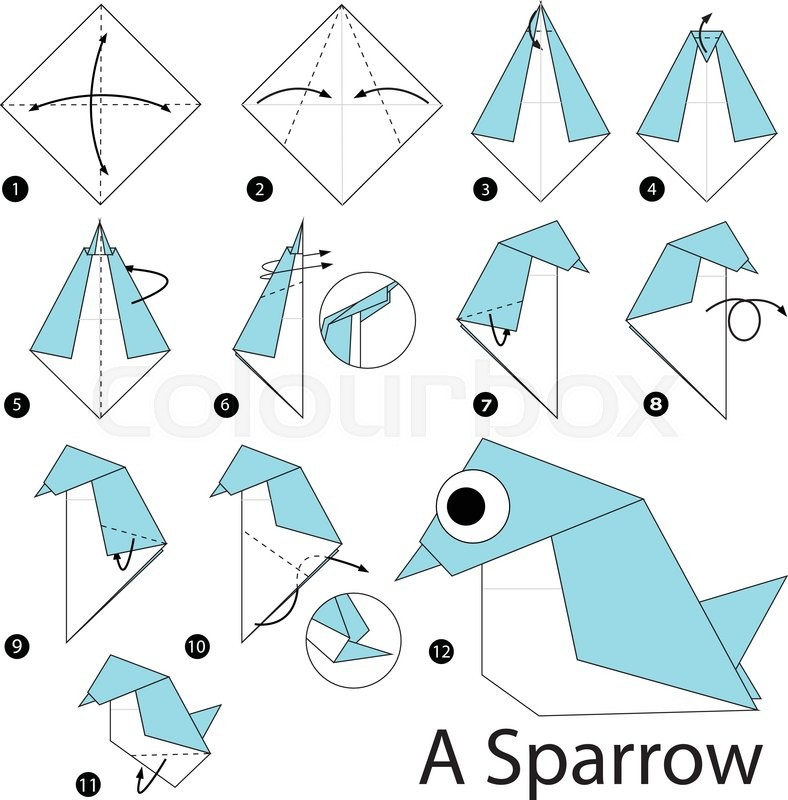 Step By Instructions How To Make Origami A Sparrow