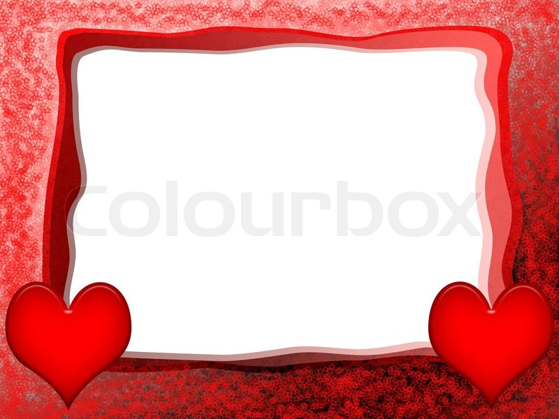 Love frame with red hearts | Stock Photo | Colourbox