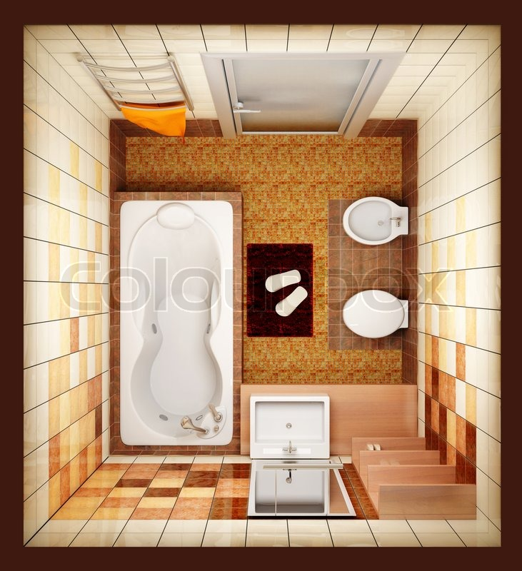 3d rendering of the modern bathroom from top view stock Top view of bathroom