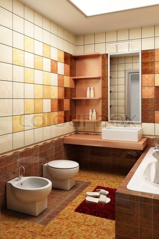 3d rendering af den moderne badevaerelse med fliser stock foto ...