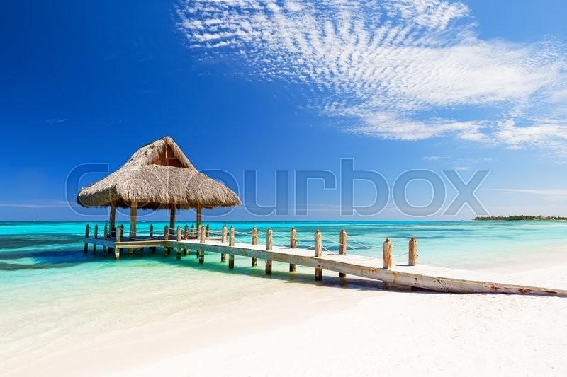 Beautiful tropical white sandy beach in Cap Cana, Dominican Republic, stock photo