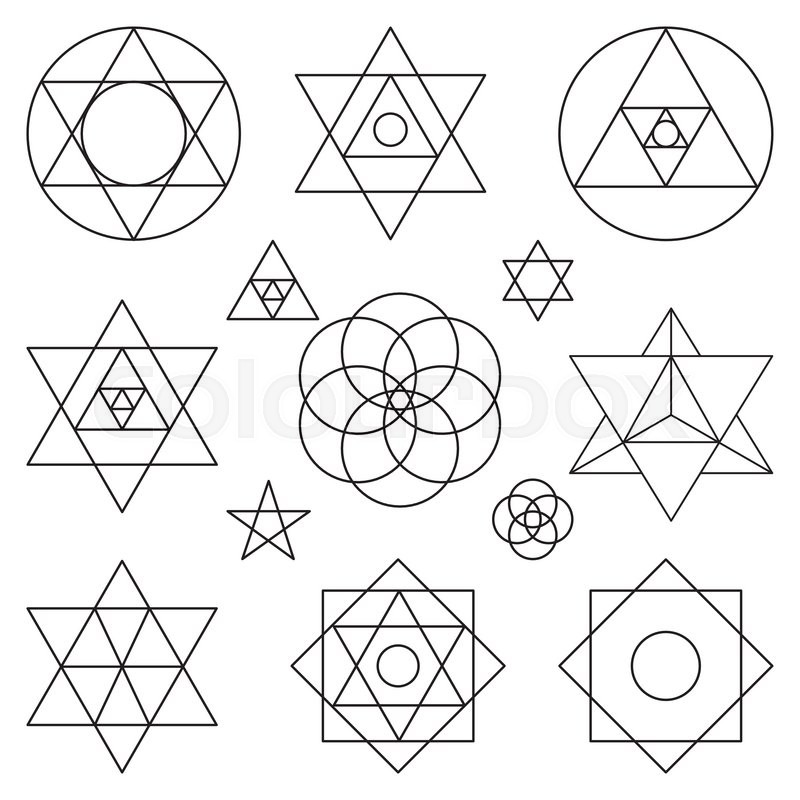 sacred geometry symbols and icons vector outline objects vintage