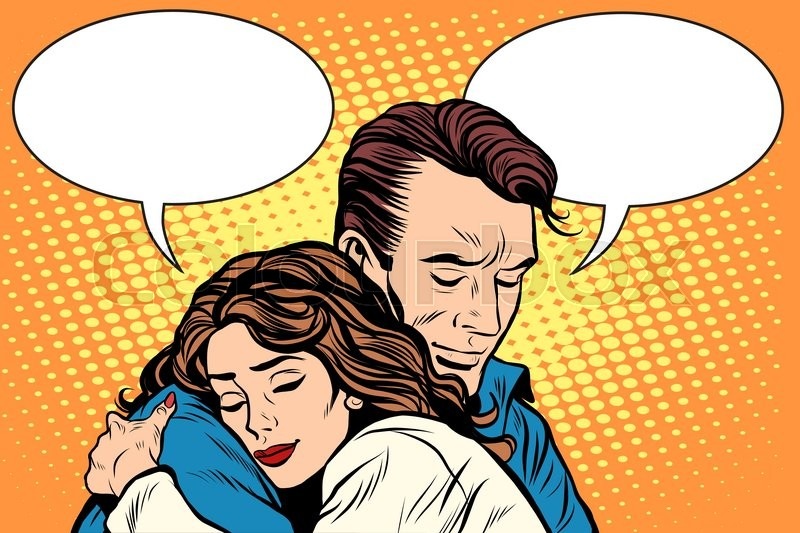 couple man and woman love hug pop art retro style retro people