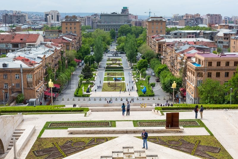 YEREVAN, ARMENIA   MAY 02, 2016: View From Cascade Which Is Giant Stairway  And One Of Main Landmarks In City. The Exterior Of Cascade, In Addition To  Stairs ...