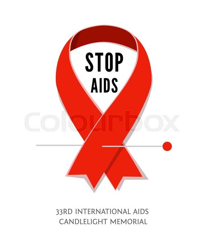 Flat Aids Awareness Red Vector Ribbon Symbol Of Aids Memorial Day
