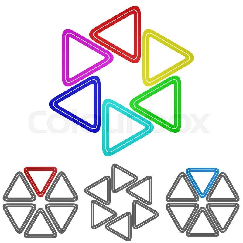 Circular Rainbow Triangle Logo Vector Triangle Icon Symbol Design