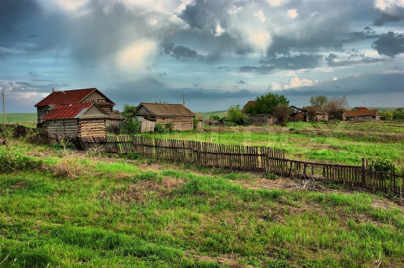 Old Ranch On A Green Field Hdr Stock Photo Colourbox