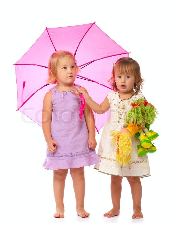 two charming little girls are with toys in their hands under a pink umbrella stock photo. Black Bedroom Furniture Sets. Home Design Ideas