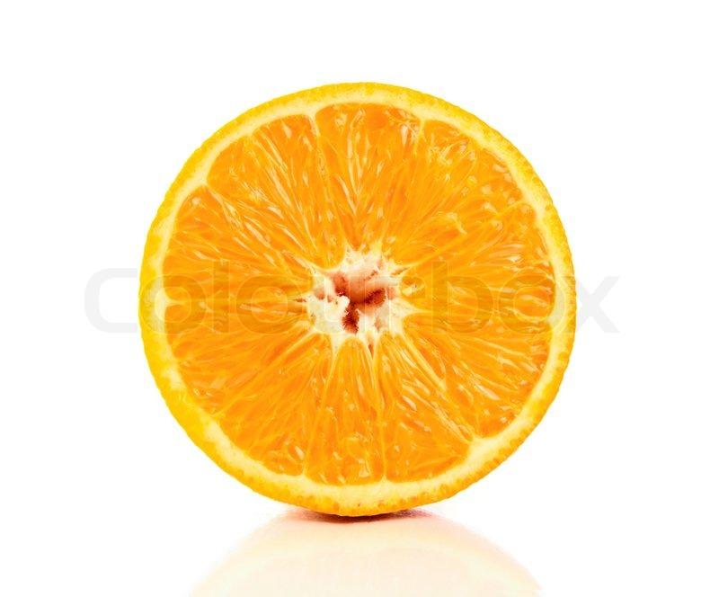 A Fresh juicy half orange isolated on white background. | Stock ...