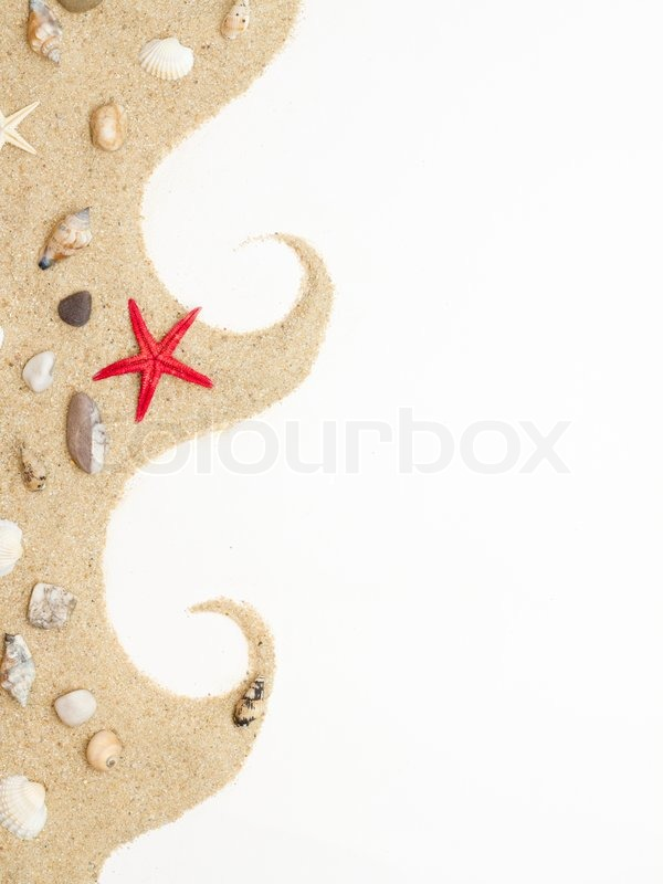 Stock image of 'Sand and sea shells isolated . Beach sand with sea shell and star fish postcard'