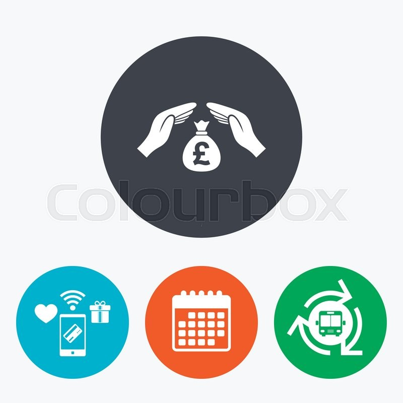 Protection Money Bag Sign Icon Hands Protect Cash In Pounds Symbol
