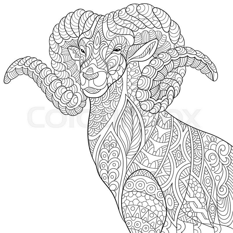 Zentangle Stylized Cartoon Goat Ram Ibex Aries Or
