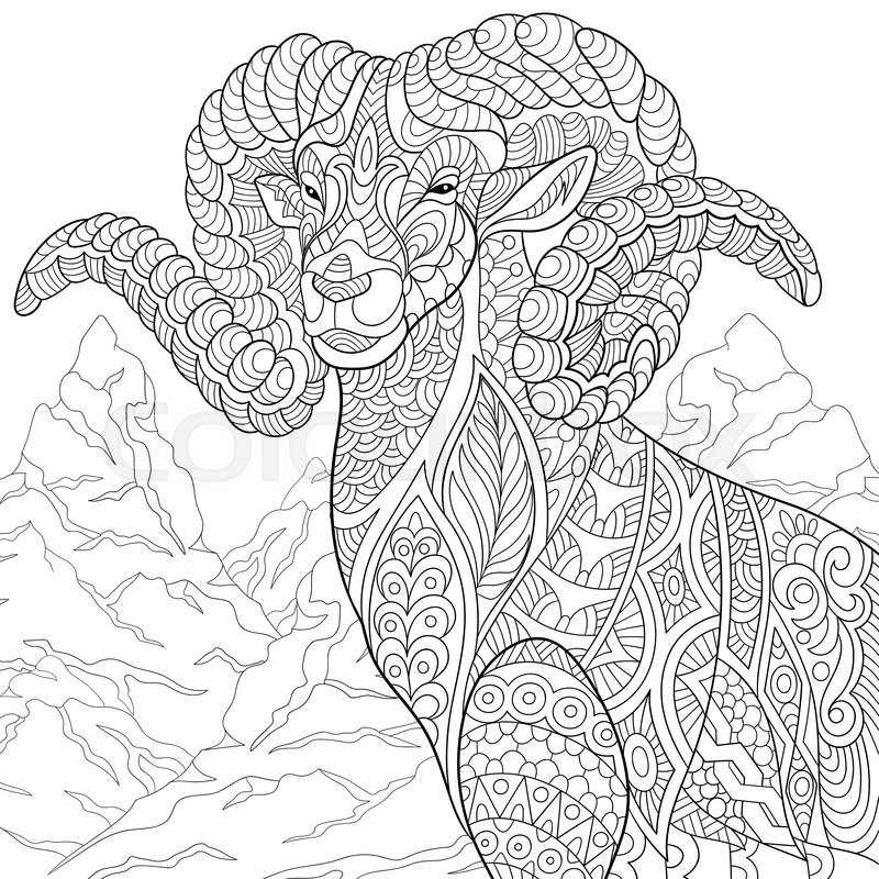 Zentangle Stylized Cartoon Goat Ram Ibex Aries Or