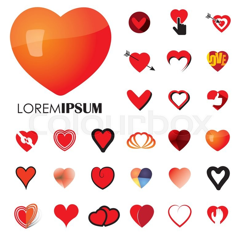 Human Heart And Love Vector Logo Icons Signs Or Symbols Heart