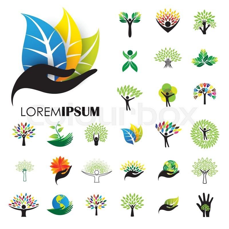 human life logo icons of abstract people tree vectors this design rh colourbox com tree vector png three vectors